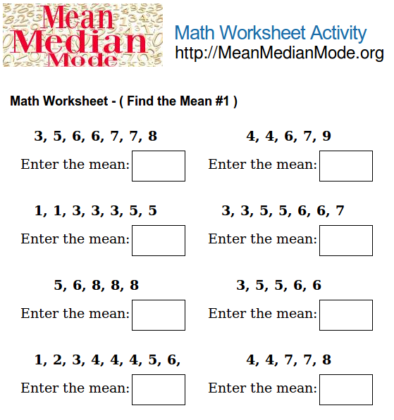 Math Worksheet Activity ( Find the Mean #2 ) | Mean Median Mode Org