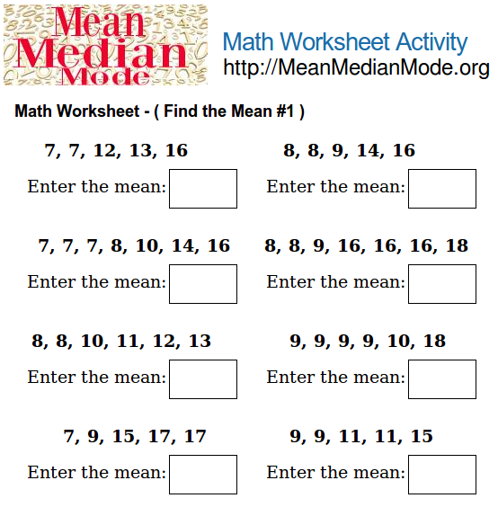 Math Worksheet Activity ( Find the Mean #6 ) | Mean Median Mode Org