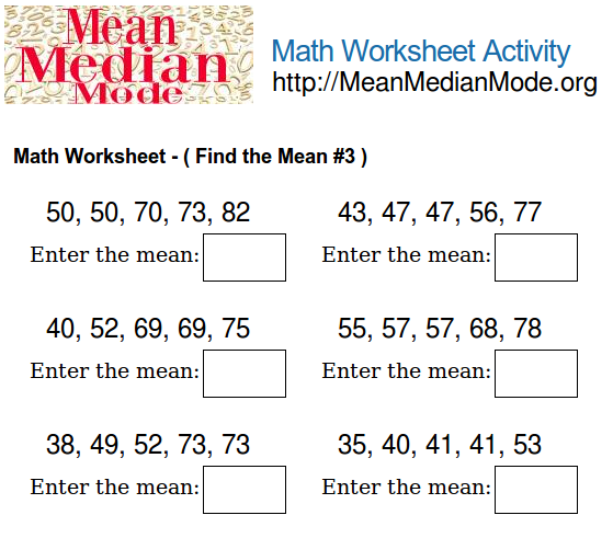 Worksheets Mean Worksheets math worksheet activity find the mean 3 median mode org print this worksheet