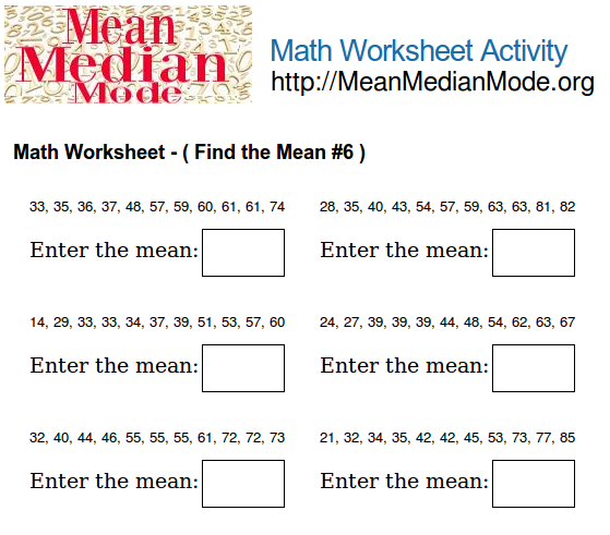 Math Worksheet Activity ( Find the Mean #1 ) | Mean Median Mode Org