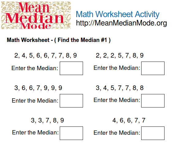 Math worksheet activity find the median 1 mean median mode org print this math worksheet ccuart Gallery