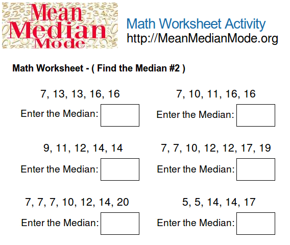 Find the Mean, Median and Mode | Worksheet | Education.com