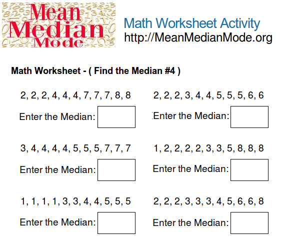 Math worksheet activity find the median 4 mean median mode org print this math worksheet ccuart Gallery