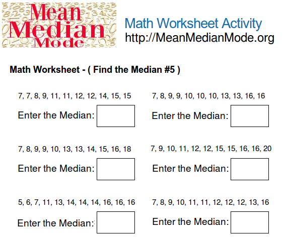 Math Worksheet Activity Find the Median 5 – Median Mode Range Worksheet