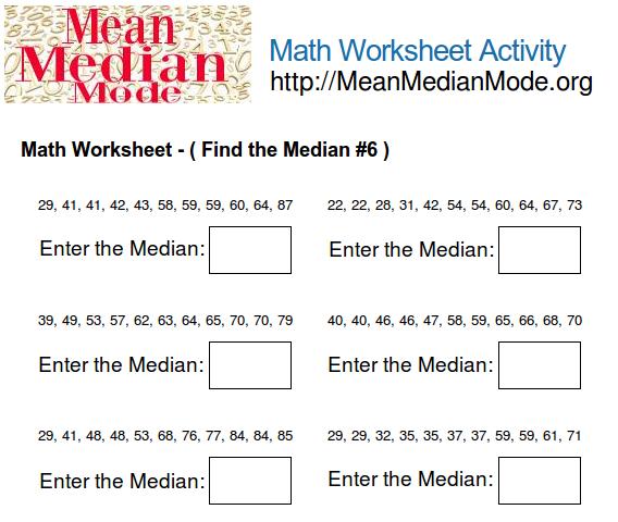 Worksheets Median Worksheets math worksheet activity find the median 6 mean mode org print this worksheet
