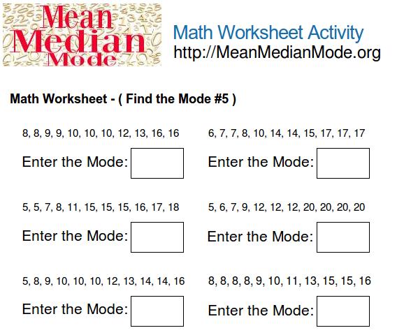 Math Worksheet Activity Find The Mode 5 Mean Median